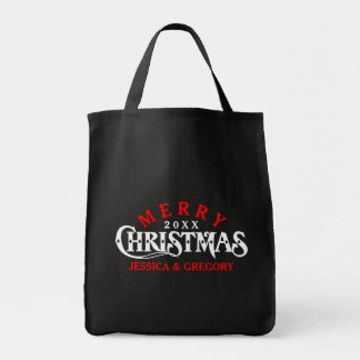 Red & White Elegant Christmas Text Design 2 Grocery Tote Bag