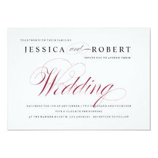 Red & White Elegant Script Wedding Invitation