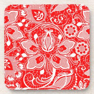 Red & White Elegant Vintage Floral Lace Design Drink Coaster
