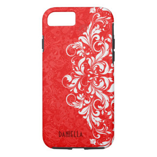 Red & White Elegant Vintage Floral Lace Monogram iPhone 8/7 Case