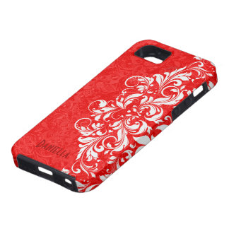 Red & White Elegant Vintage Floral Lace Monogram iPhone SE/5/5s Case