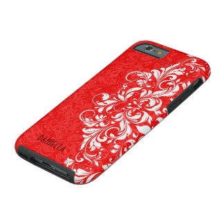 Red & White Elegant Vintage Floral Lace Monogram Tough iPhone 6 Case