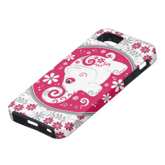 Red White Elephant Floral iPhone 5 Case-Mate Case