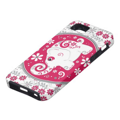Red White Elephant Floral iPhone 5 Case-Mate Case iPhone 5 Case