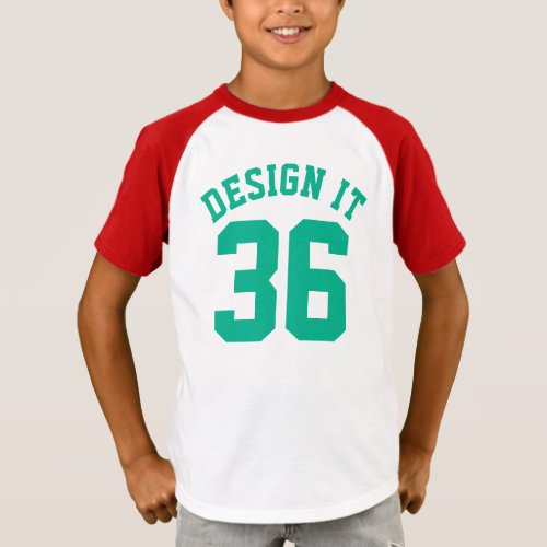 Red White  Emerald Green Kids  Sports Jersey T_Shirt