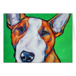 Red/white English Bull Terrier Greeting Card