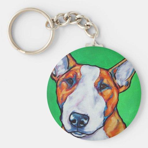 Red/white English Bull Terrier Key Chain