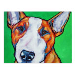 Red/white English Bull Terrier Post Card