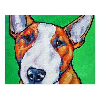 Red/white English Bull Terrier Postcard