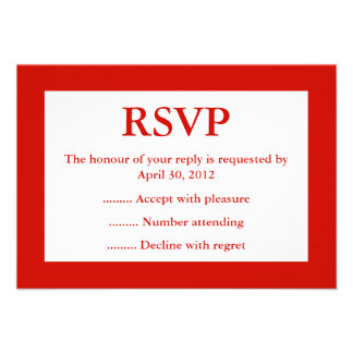 Red White Event Reply RSVP or Response Cards Personalized Announcement
