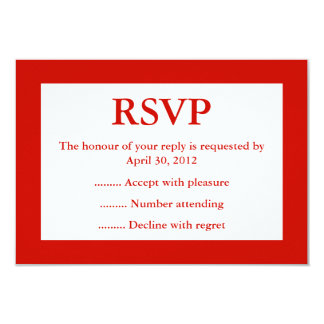 Red & White Event Reply, RSVP or Response Cards Personalized Announcement