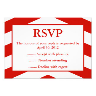 Red White Event Reply RSVP or Response Cards Announcement