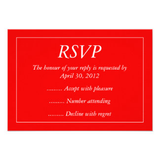 Red White Event Reply RSVP or Response Cards Invitation