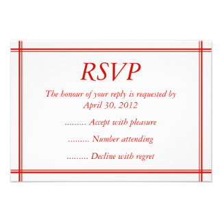 Red White Event Reply RSVP or Response Cards Personalized Invite