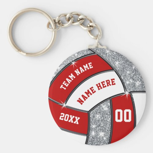 Red White Faux Silver Glitter Volleyball Keychains