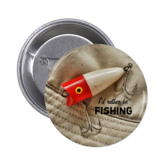 Red & White Fishing Lure I'd Rather Be Fishing Buttons