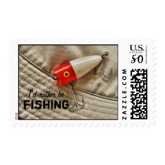 Red & White Fishing Lure I'd Rather Be Fishing Postage