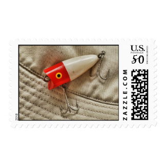Red & White Fishing Lure Postage
