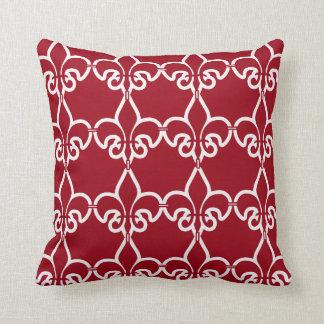 Red White Fleur de Lis Chain Pattern Throw Pillow