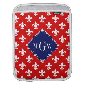 Red White Fleur de Lis Navy 3 Initial Monogram Sleeve For iPads