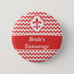 Red White Fleur de Lis Wedding Party Buttons