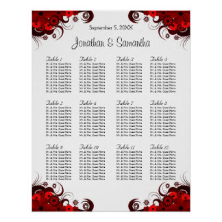 Red & White Floral 12 Wedding Tables Seating Chart