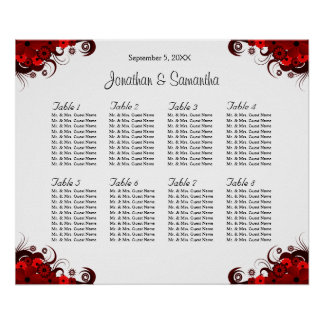 Red & White Floral 8 Wedding Tables Seating Charts Poster
