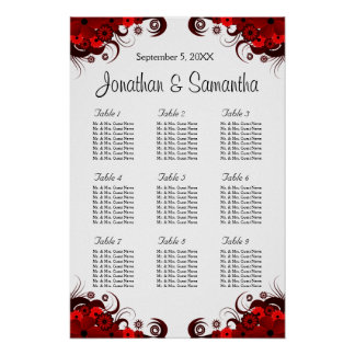 Red & White Floral 9 Wedding Tables Seating Charts Poster