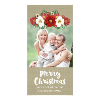 Red White Floral Burlap Merry Christmas Photo Card