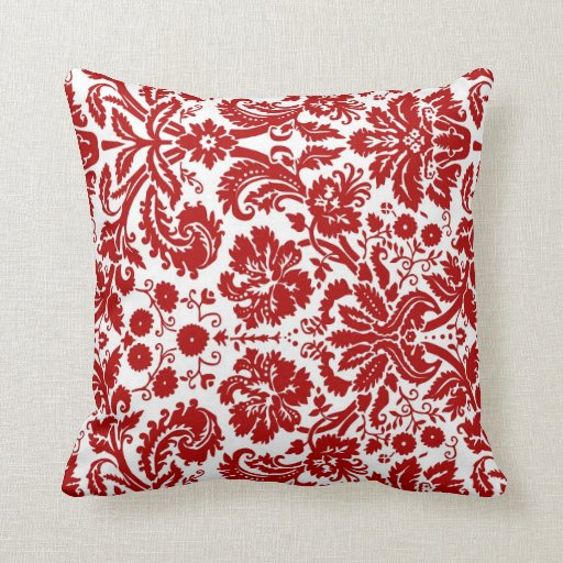 Red White Floral Decorative Pillow Zazzle