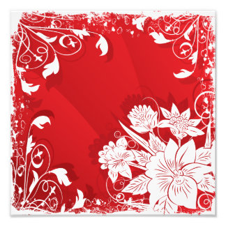 Red & White Floral Frame Photograph