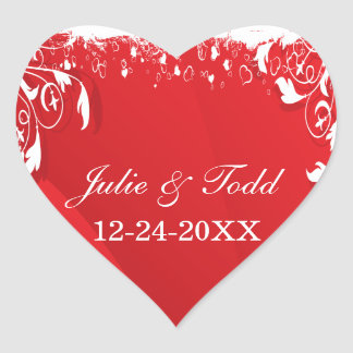 Red & White Floral Frame Wedding Save The Date Heart Sticker