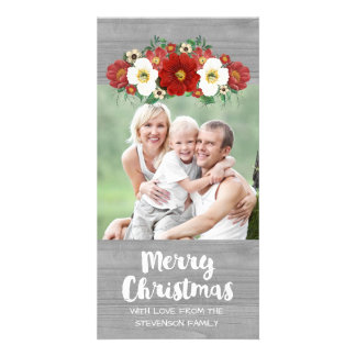 Red White Floral Grey Wood Merry Christmas Photo Card