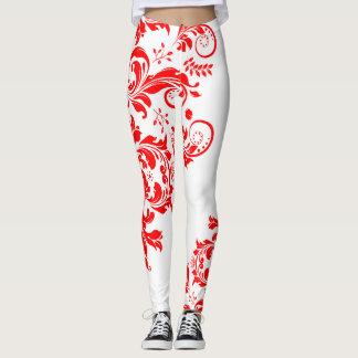Red & White Floral Lace Asymmetric Design Leggings