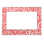 Red White Floral Paisley Pattern Magnetic Picture Frames