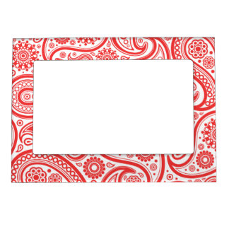 Red White Floral Paisley Pattern Magnetic Picture Frame