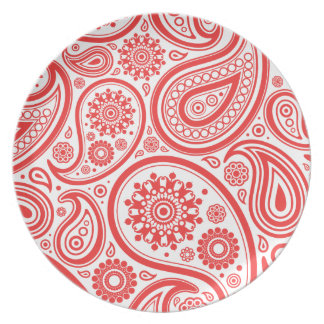 Red White Floral Paisley Pattern Dinner Plate