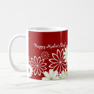 Red & White Floral Personalized Mother's Day Classic White Coffee Mug
