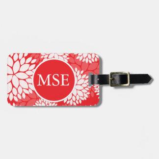 Red White Flower Monogram Bag Tag