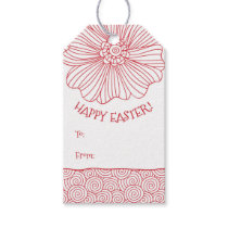 Red White Flower Swirls Easter Gift Tags