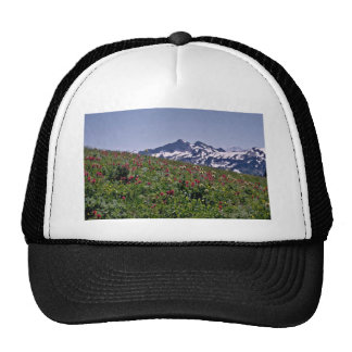 Red, White Flowers, Mountain Behind flowers Trucker Hat