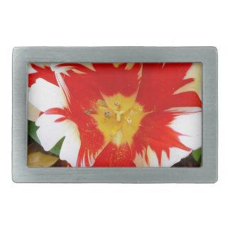 Red & White Flowers Rectangular Belt Buckles