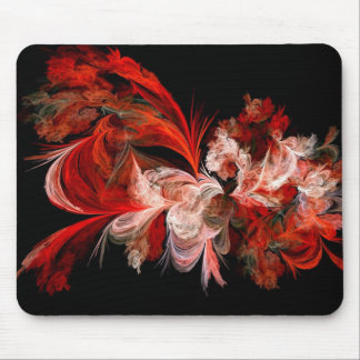 Red & White Fractal Mouse Pad