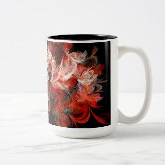 Red & White Fractal Two-Tone Coffee Mug