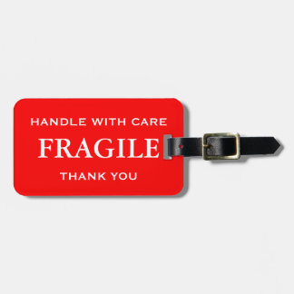 Red White Fragile Handle with Care Thank You Bag Tag
