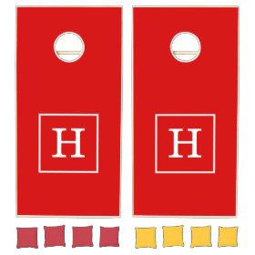 Red White Framed Initial Monogram Cornhole Sets
