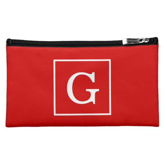 Red White Framed Initial Monogram Cosmetic Bag