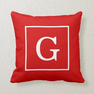 Red White Framed Initial Monogram Throw Pillow