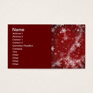 RED WHITE FROST SNOWFLAKES WINTER SWIRLS SNOW DIGI BUSINESS CARD