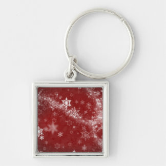 RED WHITE FROST SNOWFLAKES WINTER SWIRLS SNOW DIGI KEYCHAIN